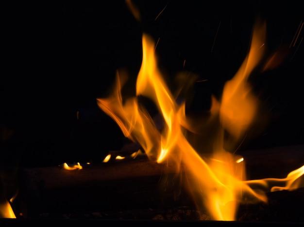 Wirkliche feuerlinie flammen lokalisiert auf schwarzem hintergrund. modell feuerwand.