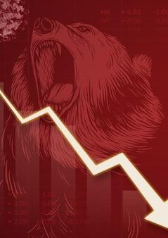 Wirtschaftliche auswirkungen und rückgang aufgrund der hintergrundillustration der coronavirus-pandemie