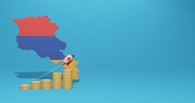 Wirtschaftswachstum im armenischen land für infografiken und social-media-inhalte in 3d-rendering
