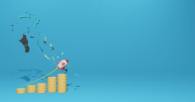 Wirtschaftswachstum im land bahama für infografiken und social-media-inhalte in 3d-rendering