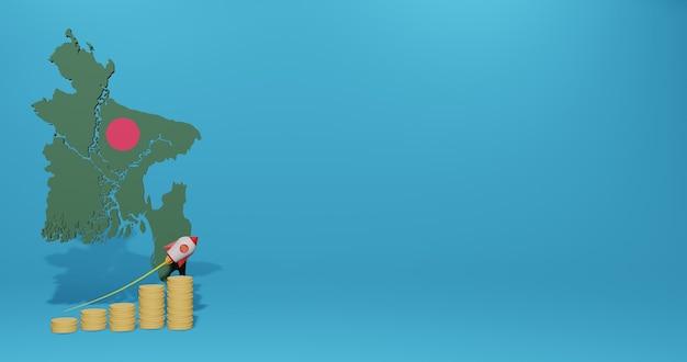 Wirtschaftswachstum im land bangladesch für infografiken und social-media-inhalte in 3d-rendering