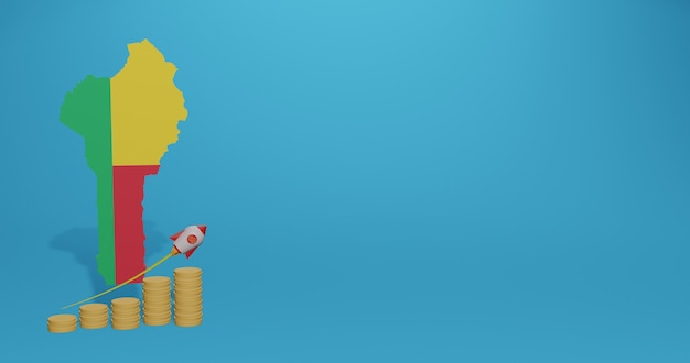 Wirtschaftswachstum im land benin für infografiken und social-media-inhalte im 3d-rendering