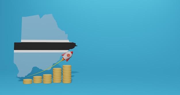 Wirtschaftswachstum im land botswana für infografiken und social-media-inhalte in 3d-rendering