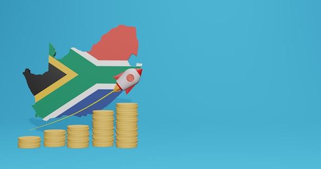 Wirtschaftswachstum im land südafrika für infografiken und social-media-inhalte in 3d-rendering