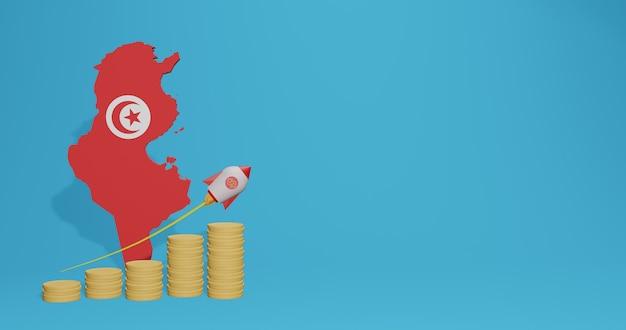 Wirtschaftswachstum im land tunesien für infografiken und social-media-inhalte in 3d-rendering