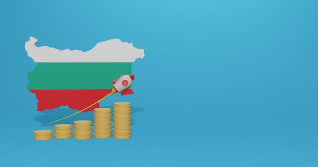 Wirtschaftswachstum in bulgarien für infografiken und social-media-inhalte in 3d-rendering