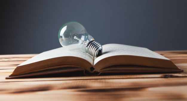 Wissen und weisheit, glühbirne auf dem buch
