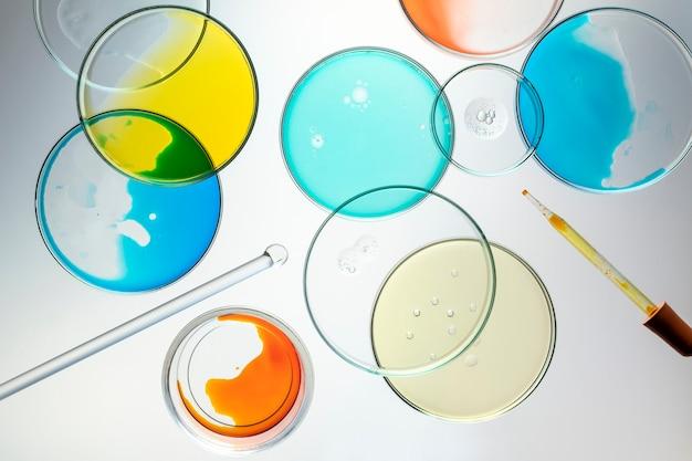 Wissenschaft hintergrundbild, petrischalen flach legen
