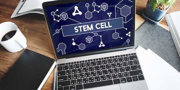 Wissenschaft stammzelltechnologie atom-dna-konzept