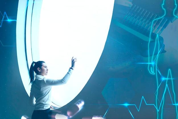 Wissenschaftler bei klinischen studien medikamentenexperiment digitaler remix
