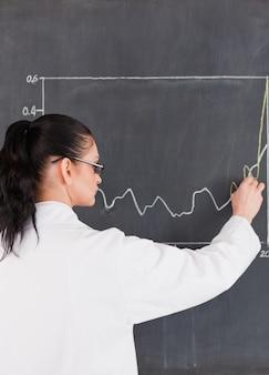 Wissenschaftler, der diagramme auf die tafel zeichnet