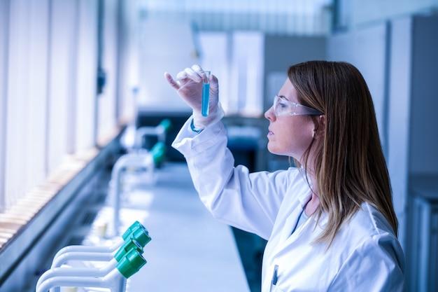 Wissenschaftler, der reagenzglas im labor betrachtet