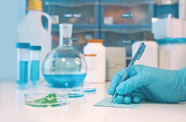 Wissenschaftlicher oder medizinischer hintergrund mit behandschuhter hand holdong mikroskopischem diaglas