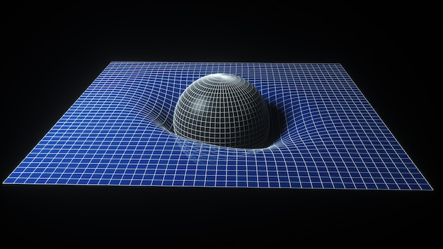 Wissenschaftliches konzept der raumzeit. die kugel fällt an die oberfläche