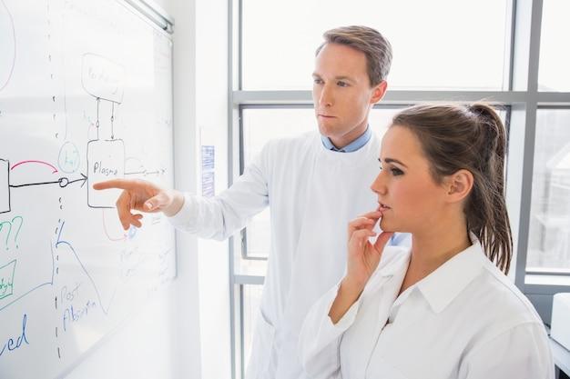 Wissenschaftsstudent und -lehrer, die whiteboard betrachten