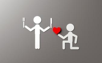 Witz auf der Illustration des Valentinstags 3D