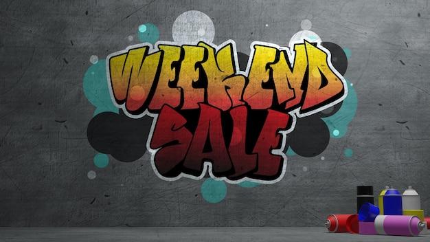 Wochenendverkauf graffiti auf betonwand textur steinmauer hintergrund, 3d-rendering