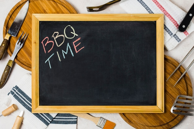 Wörter bbq-zeit auf tafel