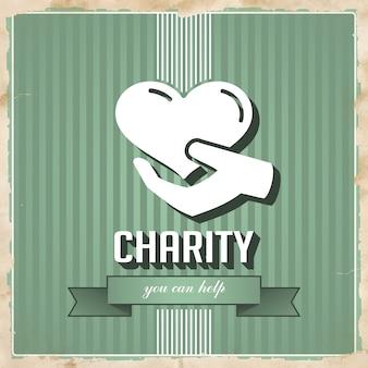 Wohltätigkeit mit ikone des herzens in der hand auf grün gestreift. weinlesekonzept im flachen design.