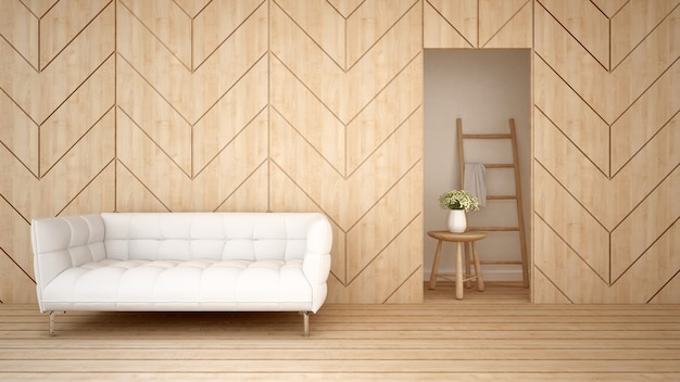 Wohnbereich auf hölzernem design in der wohnung oder im hotel - wiedergabe 3d
