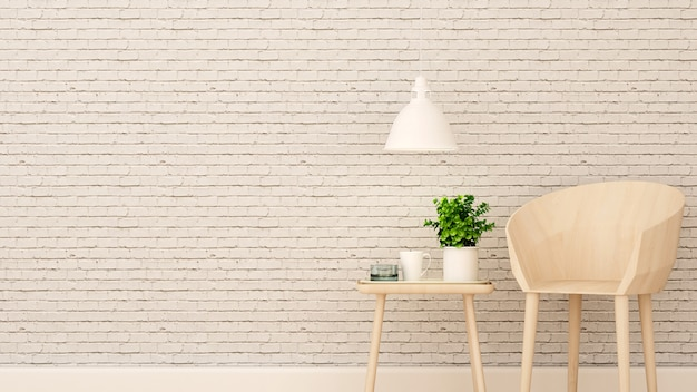 Wohnbereich im haus oder in der wohnung auf weißer backsteinmauer verzieren