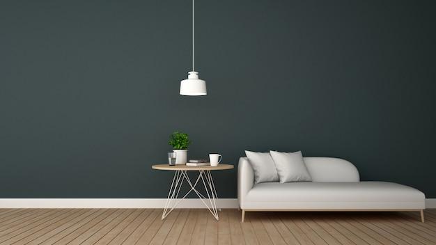 Wohnbereich im lounge- oder coffeeshop - wiedergabe 3d