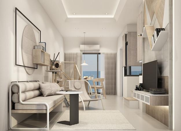 Wohnbereich im modernen natürlichen stil 3d rendering des stadthausinnenraums