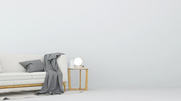 Wohnbereich im weißen raum - wiedergabe 3d