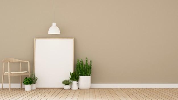 Wohnbereich in der galerie oder im café und im innengarten - illustration 3d