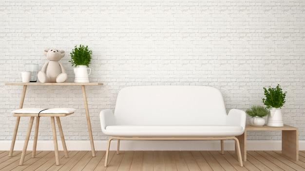 Wohnbereich in der wohnung oder im kinderraum - wiedergabe 3d