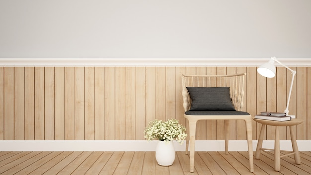 Wohnbereich in der wohnung oder in der kaffeestube - wiedergabe 3d