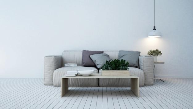 Wohnbereich in der wohnung oder zu hause - 3d-rendering