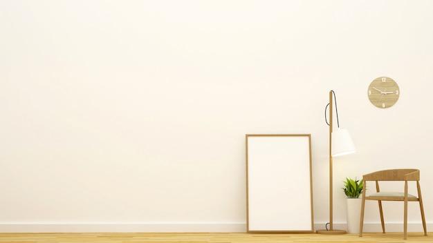 Wohnbereich oder kaffeestube und rahmen für gestaltungsarbeit - wiedergabe 3d