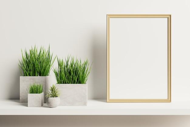 Wohnraum mit vertikalem holzrahmen mit zierpflanzen in töpfen auf leerer wand.