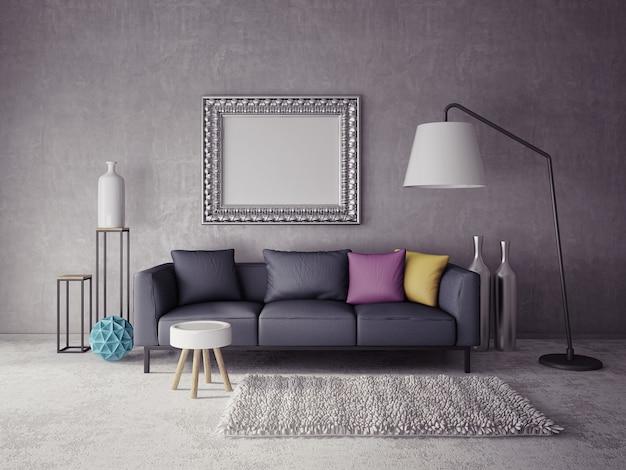 Wohnzimmer des innenraums 3d