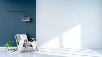 Wohnzimmer-Design Innenraum des modernen Weinlese. Grauer Sessel mit schwarzer Stehlampe