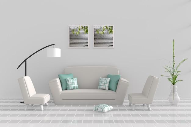 Wohnzimmer im entspannungstag. dekor mit sofa, sessel, grünes kissen, weiße lampe. 3d übertragen.