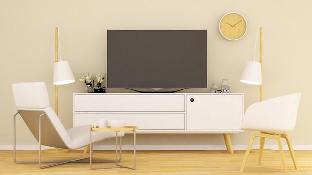 Wohnzimmer im haus oder im kondominium - wiedergabe 3d