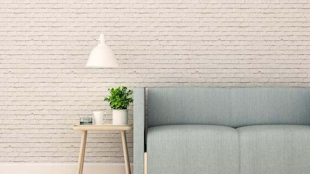 Wohnzimmer im haus oder in der wohnung auf weißer backsteinmauer verzieren
