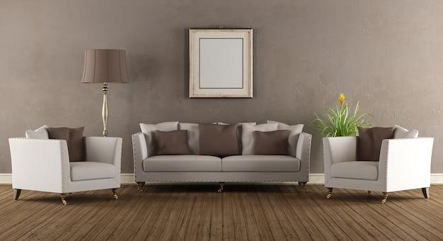 Wohnzimmer im klassischen stil mit sofa und sesseln
