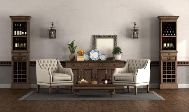 Wohnzimmer im retro-stil mit sesseln und weinschränken