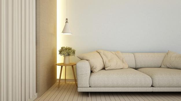 Wohnzimmer in der wohnung oder im hotel - wiedergabe 3d