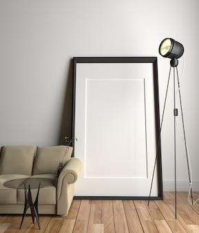 Wohnzimmer innenraum mit sofa und glastisch und lampe auf holzboden. 3d-rendering