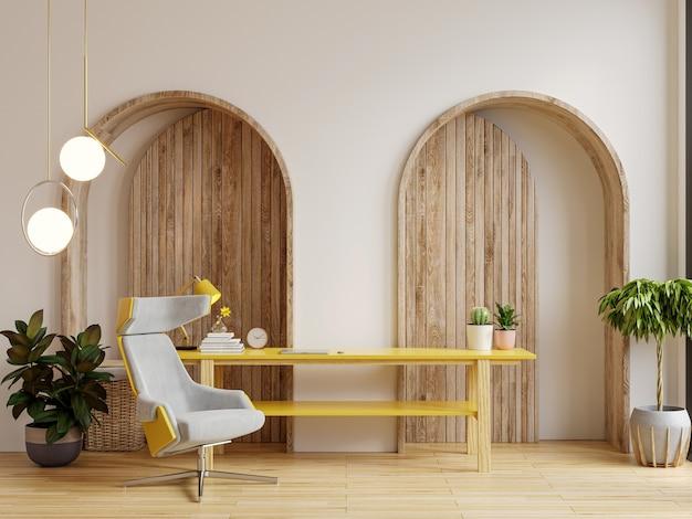 Wohnzimmer-innenraum-wandmodell in warmen tönen, sessel auf holzboden. 3d-rendering