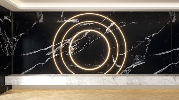 Wohnzimmer-innenwand aus schwarzem marmor weiße marmortheke auf einem holzboden und dekoriert mit weichen orangefarbenen led-leuchten. wohnzimmerdekorationskonzept.
