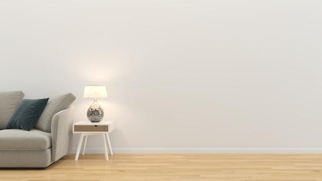 Wohnzimmer interieur 3d render sofa tisch holzfußboden holzwand vorlage