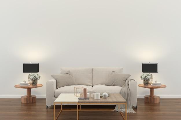 Wohnzimmer interieur. 3d übertragen hölzernen wanddesign-kopienraum des holzfußbodens