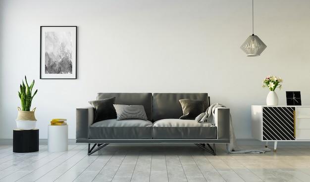 Wohnzimmer interieur mit grauem sofa und sideboard auf grauer wand, 3d-rendering