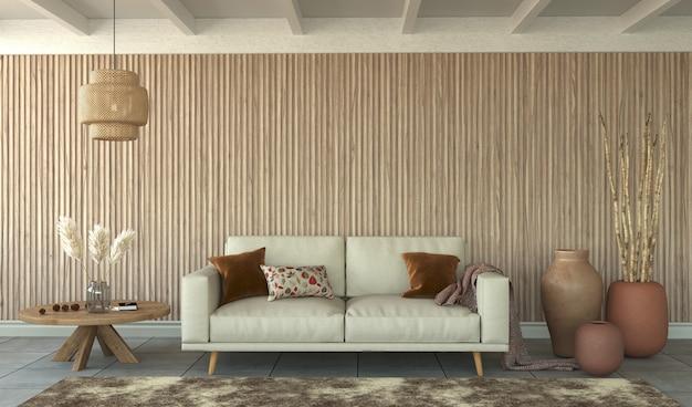 Wohnzimmer interieur mit lattenrost wand, 3d-rendering