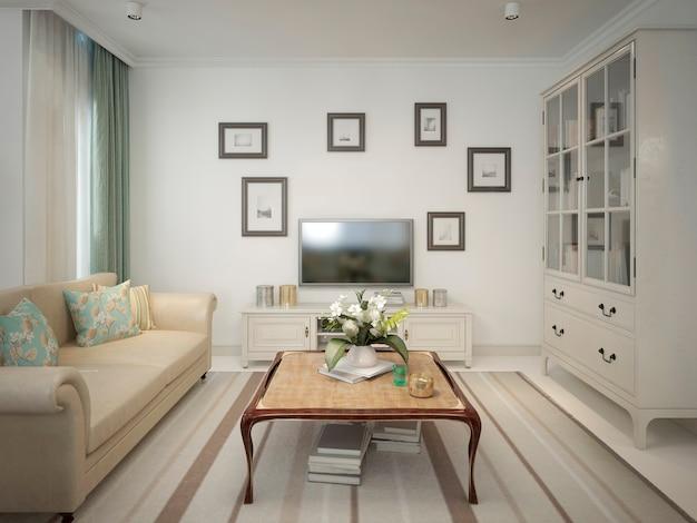 Wohnzimmer interieur mit tv-bereich und niedrigem tisch mit vitrine im provenzalischen stil